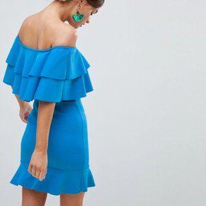 NWT Asos Frill Bardot Mini Dress, sz US 10